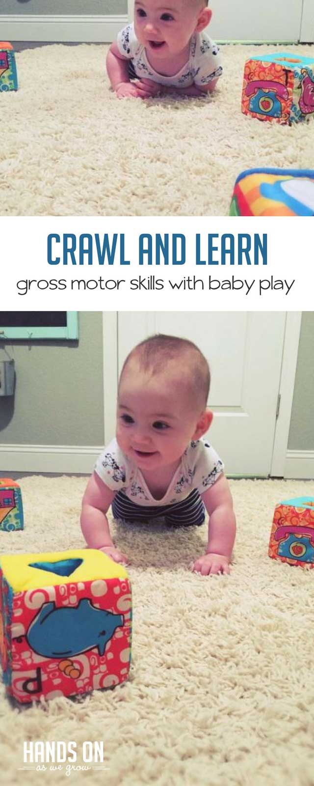 Develop gross motor skills with a crawl and learn obstacle course for baby! Use baby's favorite toys to motivate your baby to get moving.