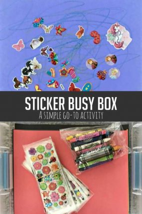 Create a DIY sticker busy box for moments when you need a minute! Your kids will love working on sticker activities!