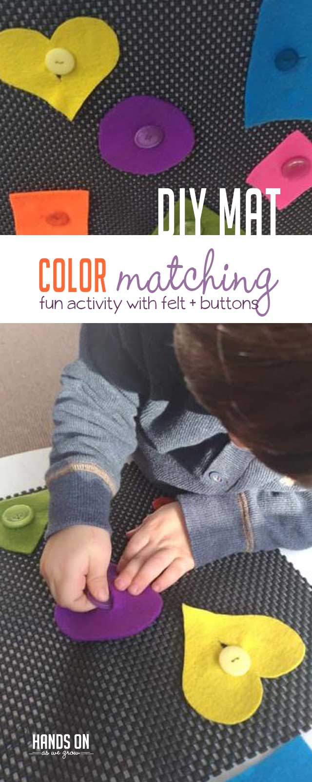 Practice color matching, shape names, and buttoning skills with a DIY color matching mat. Perfect for toddlers and younger preschoolers.