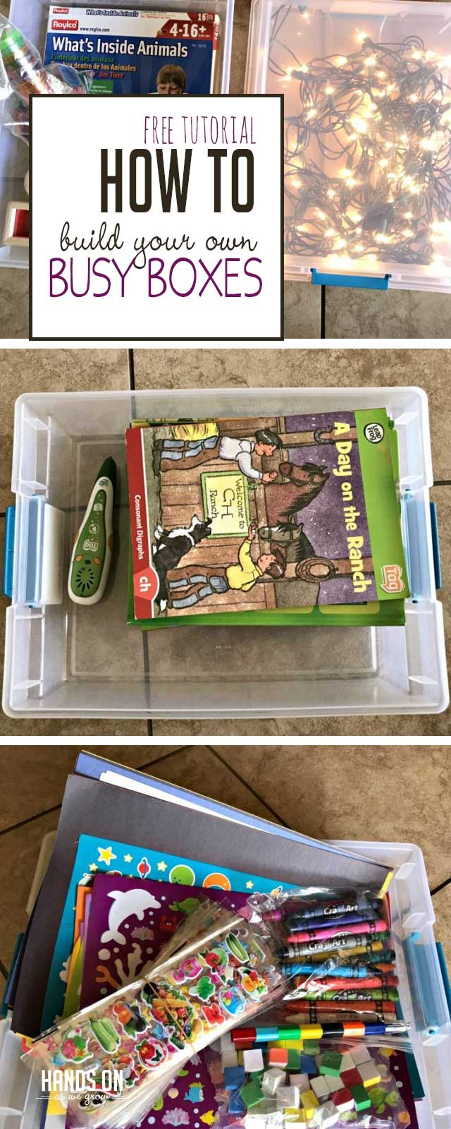 Use this free tutorial to build DIY busy boxes for quiet time play activities. Learn the exact steps and materials you need to create fun learning activities for quiet play.