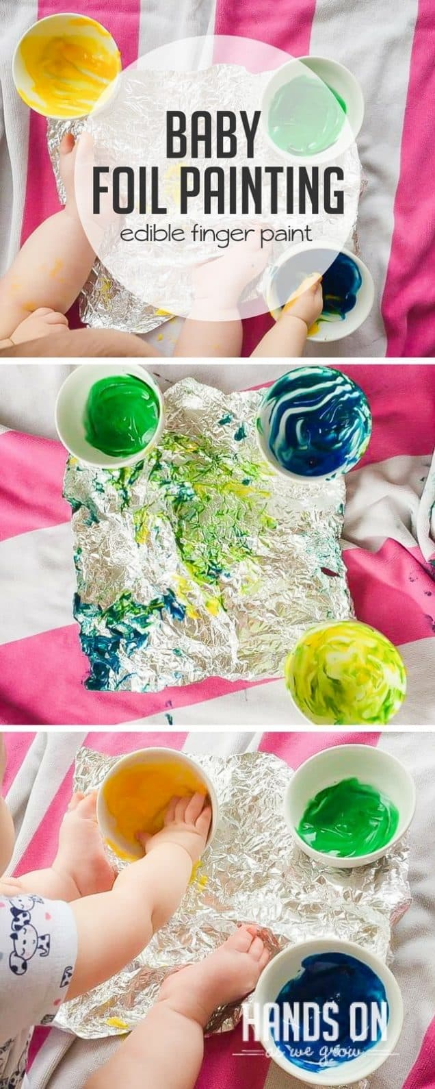 DIY super simple baby safe edible finger paint for a messy and yummy sensory foil painting activity! Make sure you grab pictures of your little artist to treasure forever.