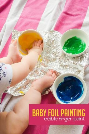 Have messy sensory fun with baby-safe edible finger paints!