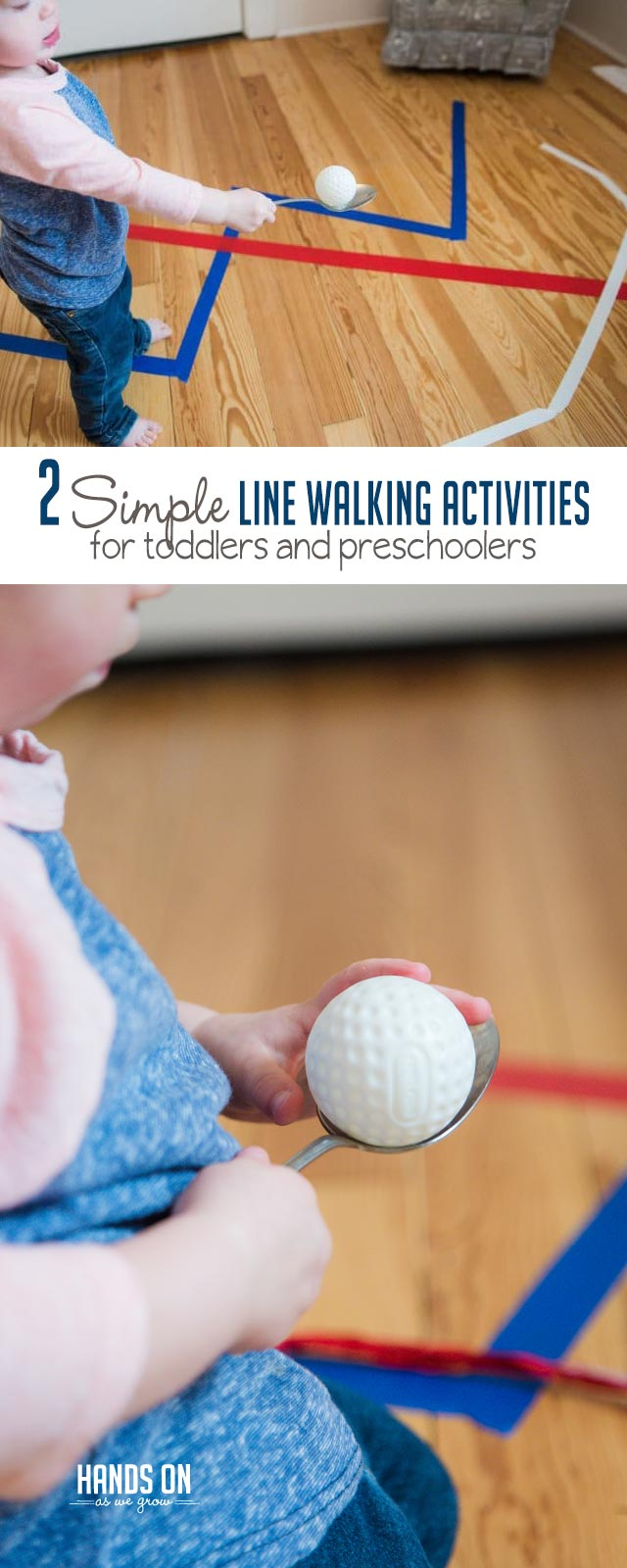 Two simple line walking activities for preschoolers and toddlers that will help practice balance and coordination! Easy set-up and directions!