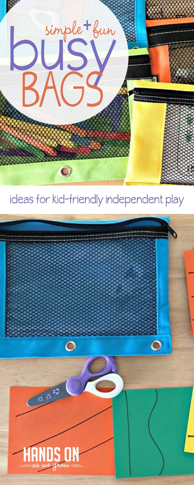 Make independent play a snap with super simple busy bags your kids will love! Learn exactly how to DIY your own busy bags with this free tutorial.