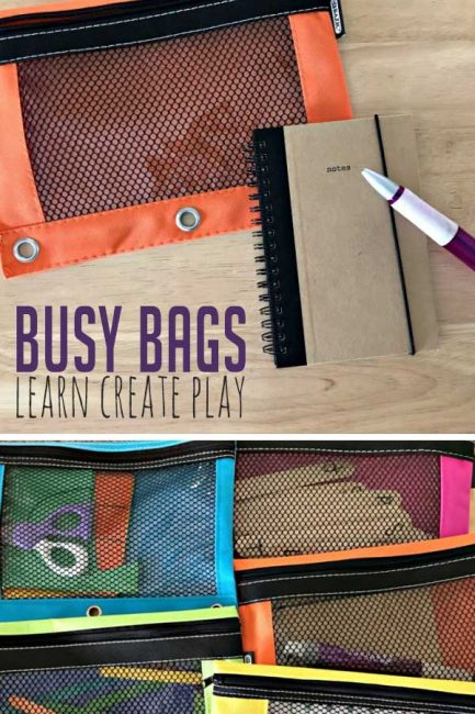Super simple busy bags to make traveling with kids easier!