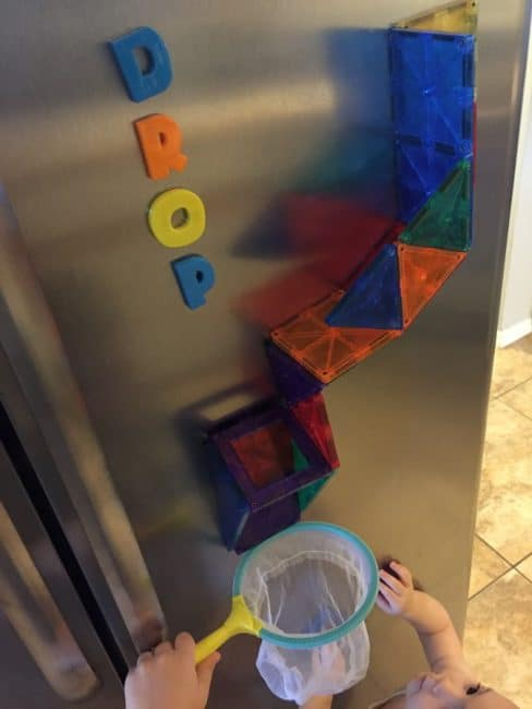 Easy Magnet Block Ball Drop Activity for Independent Play | HOAWG