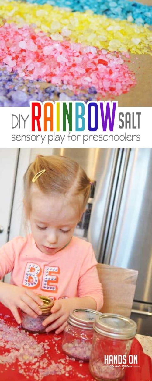 Make rainbow salt with just two simple ingredients! This sensory play activity is perfect for preschoolers!