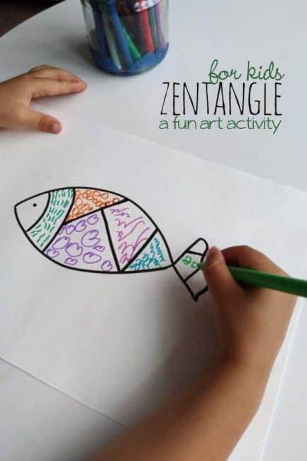 Easy Zentangle Drawing Inspired Art Activity For Kids Hoawg
