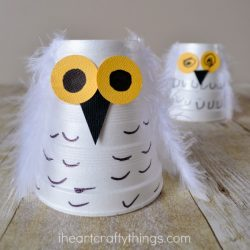 Styrofoam Cup Snowy Owl- I Heart Crafty Things