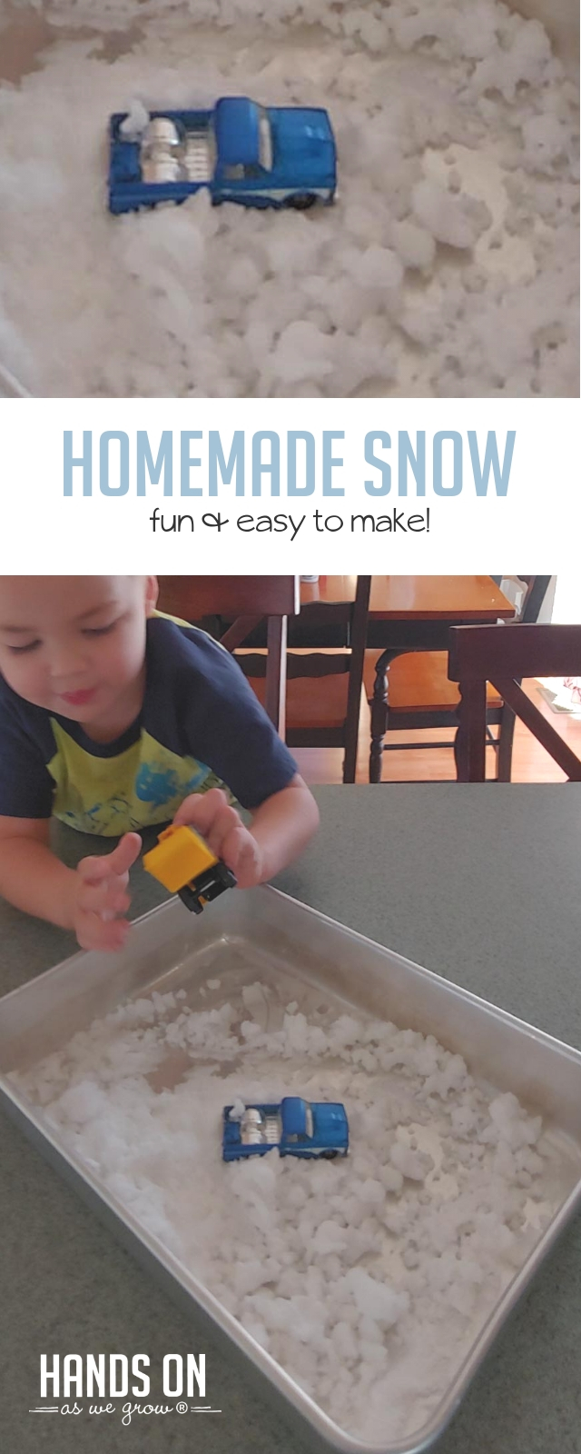 Have chilly winter fun inside with an easy homemade snow recipe and activity! Drive toy trucks through snow drifts and scoop it into tiny snowmen with your preschooler or toddler!