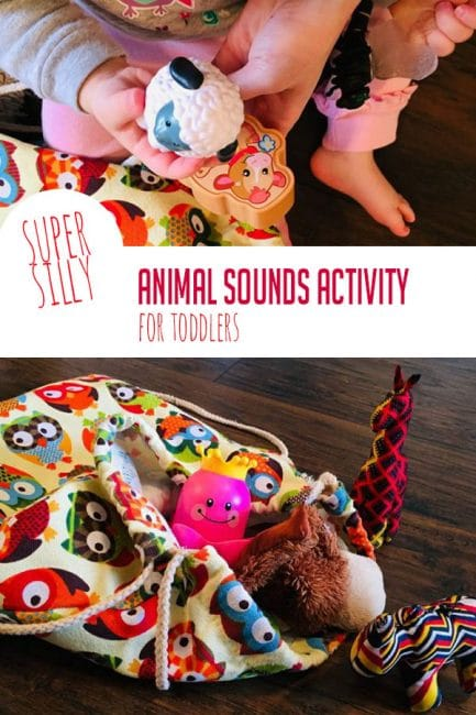Play a fun mystery animal sounds game and work on early speech skills with your baby!