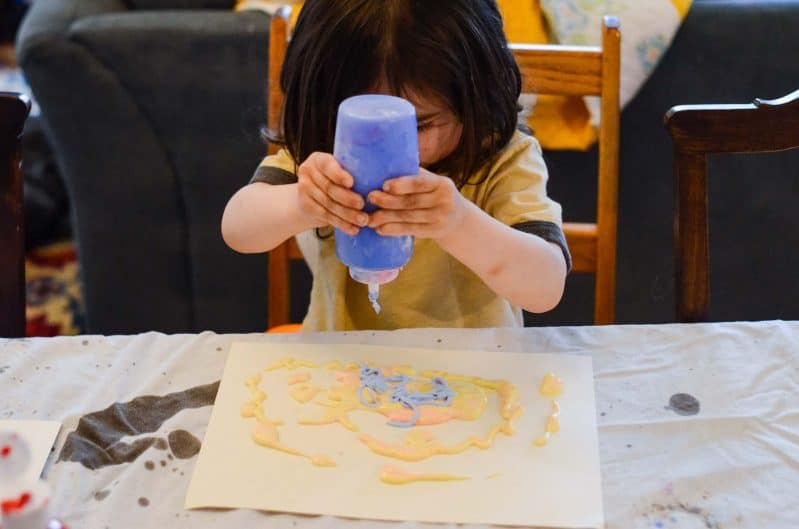 Make your own DIY puffy paint for toddlers! We tested out tons of recipes to find the best one!