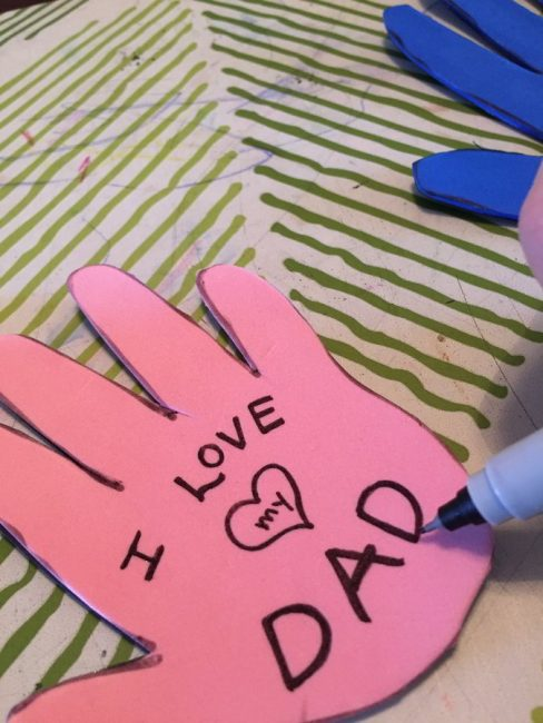 Decorate your handprint magnets with a sweet message for Dad!