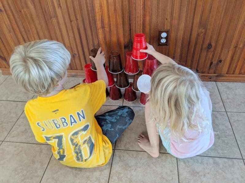 Challenge your kids to stack the cups into a target.