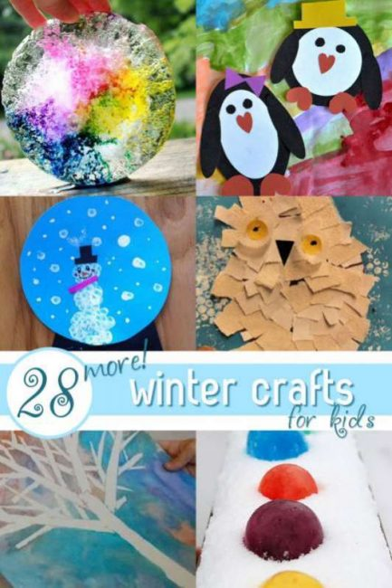 28 winter crafts for kids to make. From penguins to snow globes to ice wreaths.