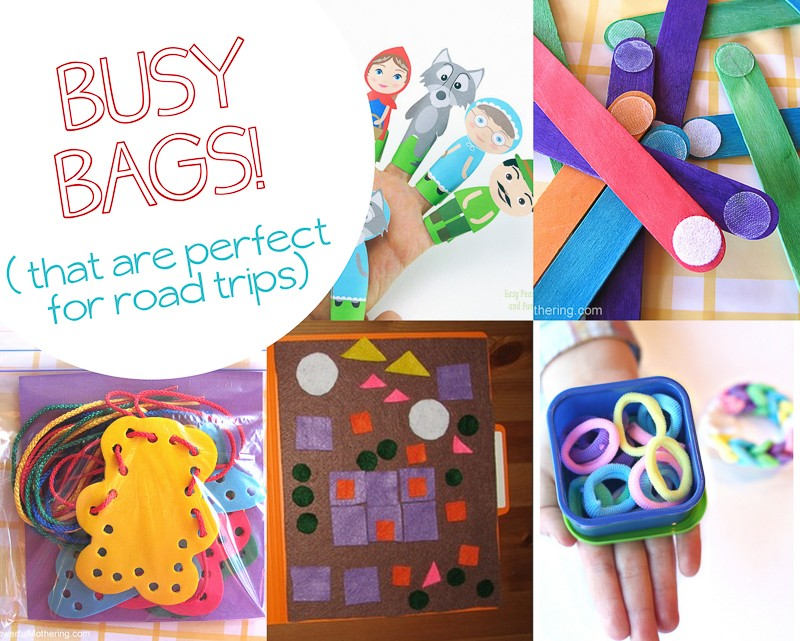Lots of quick and easy busy bag ideas for on the road, in the car