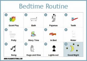 Bedtime routine chart from The Pleasantest Thing