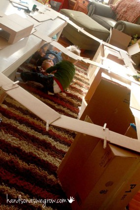 Bridges made with the flaps of cardboard boxes