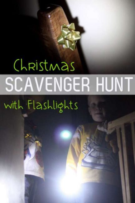 Go on a Christmas flashlight scavenger hunt looking for Christmas bows in the dark!