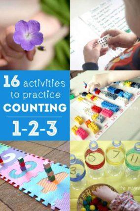 16 counting activities for preschooler to practice their 1-2-3s