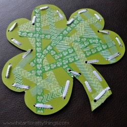 washi tape shamrock - 1 of the 20 shamrock crafts for kids to make