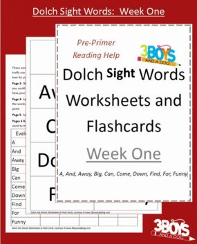 Dolch Sight Words Worksheets from 3 Boys and a Dog