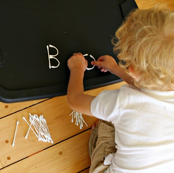 Making words and letters for Halloween with Q-tips