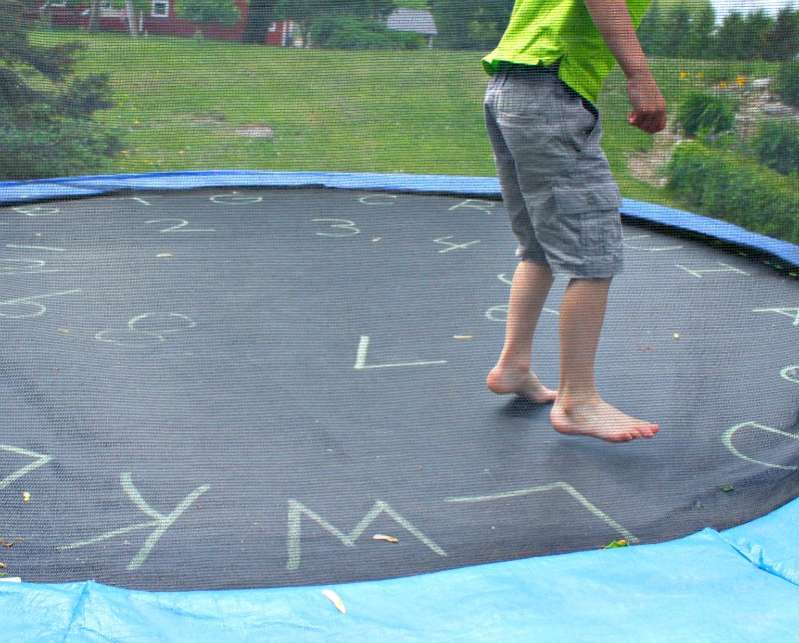 Learning letters and numbers on the trampoline