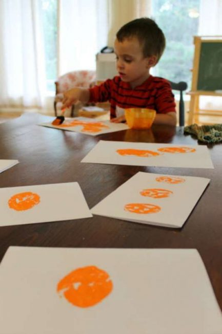Potato stamping pumpkins