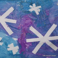 Tape resist snowflake art