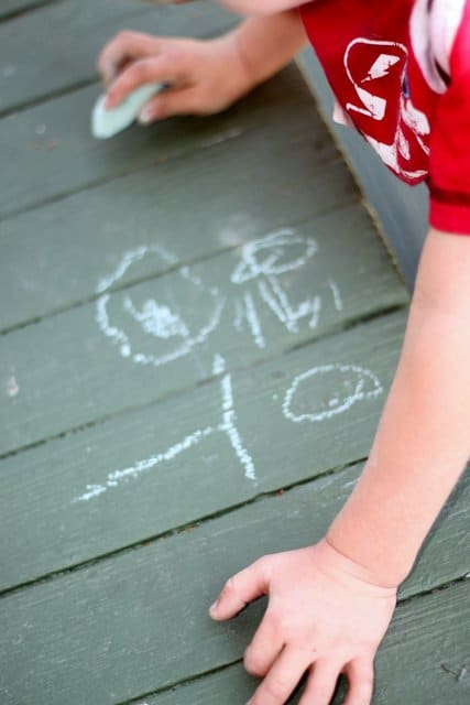 Sidewalk Chalk Preschooler Drawing