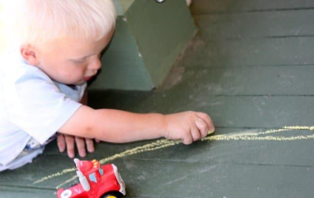 Toddler Mark Making with Sidewalk Chalk