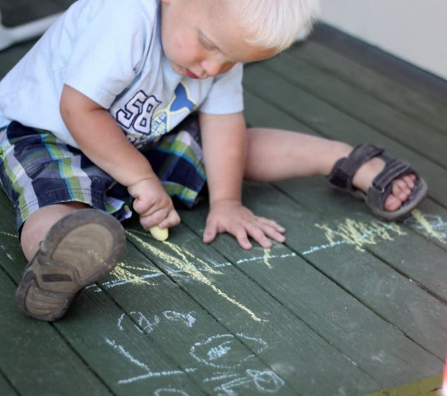 Toddler Mark Making with Sidewalk Chalk