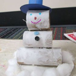 Stacked Toilet Paper Roll Snowman Craft - snowman crafts for kids