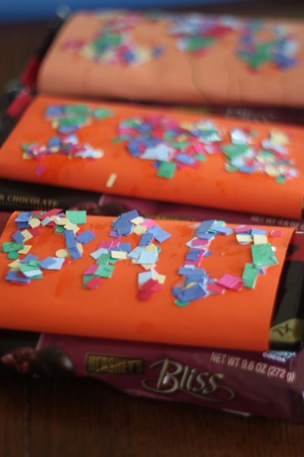 Father's Day Craft: Confetti Sprinkled DIY Candy Bar Wrappers