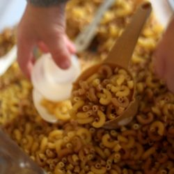 Dry pasta sensory bin for kids