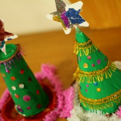 Upcycled Christmas tree craft, 1 of the 25 easy Christmas crafts for kids