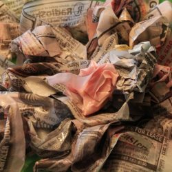 Wet newspaper sensory activity for kids