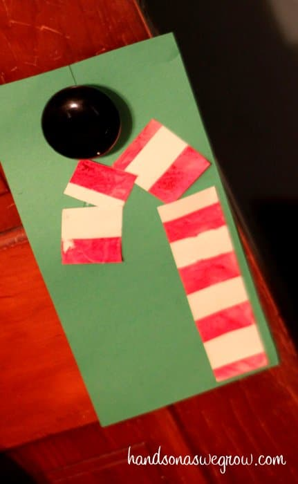 Candy Cane Door Hanger from Tape Resist Painting