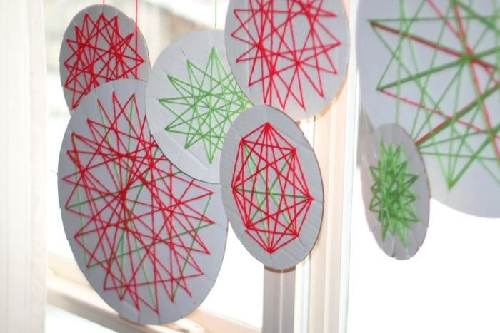 Yarn wrapped ornaments for window