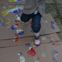 Painting with Feet - 30 Gross Motor Activities for Kids!