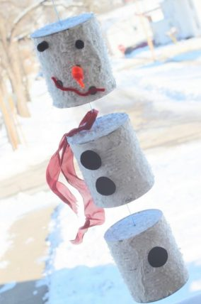 Tin can snowman wind chime