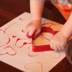 Sponge Heart Painting; Cookie Cutter Painting For Valentineu0027s Day