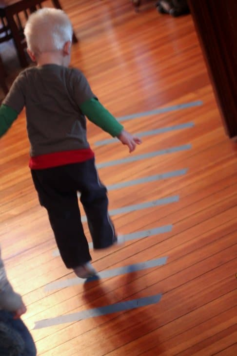 Gross motor activity tape jumping game for Gross motor skills for 2 year olds