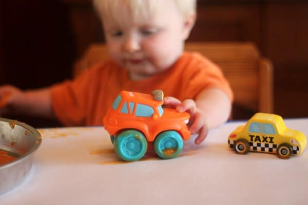 Painting with baby food and cars