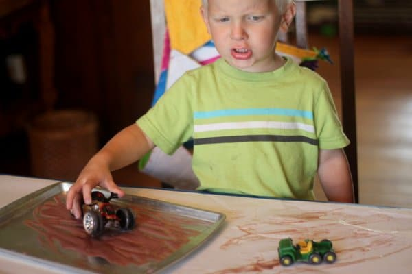 Painting with baby food and trucks