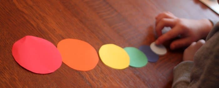 Sorting by Size Activity for Rainbow Necklace