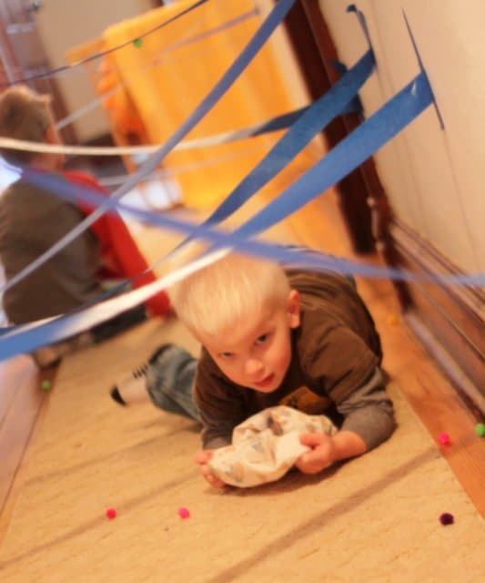 A scavenger hunt for pom poms through the Tape Maze