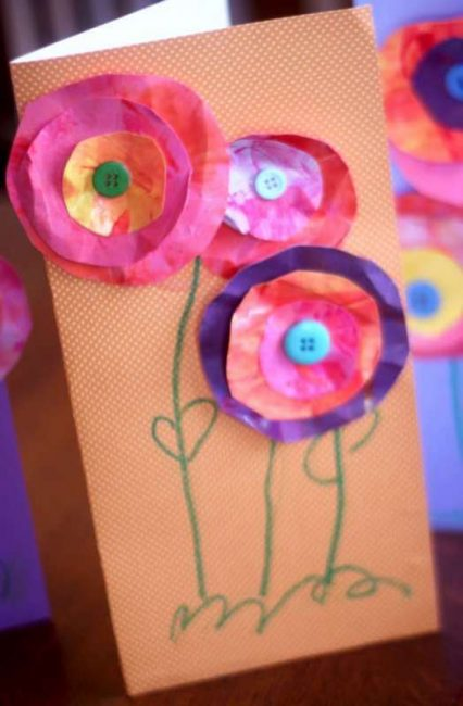DIY 3D flower cards are a great Mother's Day craft for kids to make!