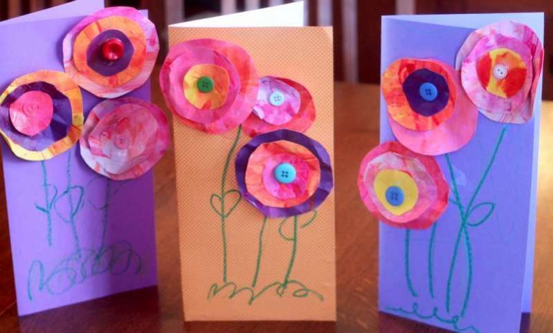 Mother 39 s day craft for kids to make 3d flower cards for Mothers day cards from preschoolers